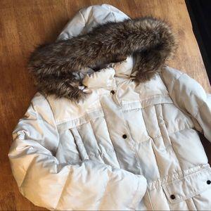 Jones New York Down Coat with Fur Trim